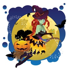 Witch and Full Moon9 vector image
