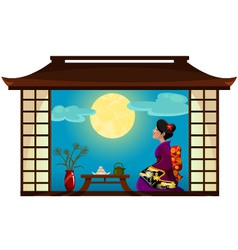 Woman watching the moon vector