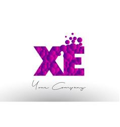 Xe x e dots letter logo with purple bubbles vector