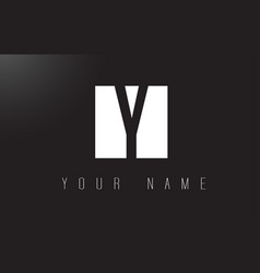 y letter logo with black and white negative space vector image