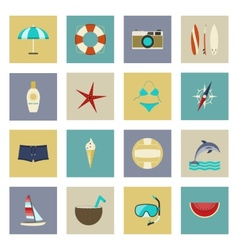 Beach vacation and travel flat icons set vector image