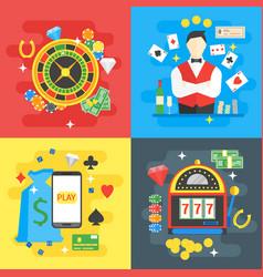 casino card set symbol gambling game vector image
