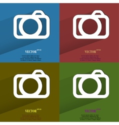 Color set Camera Flat modern web button with long vector image