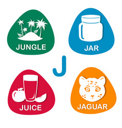 cute alphabet in j letter for jungle jar vector image vector image
