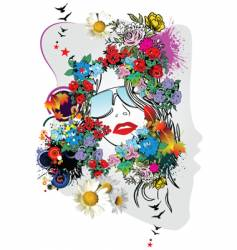 floral woman's face vector image