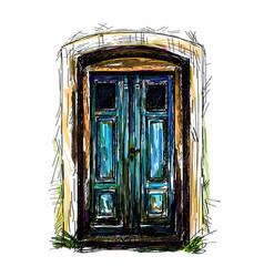 freehand drawing of front door vector image