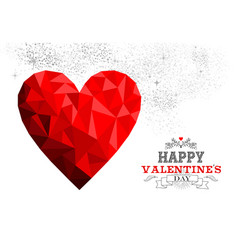 happy valentines day red low poly heart love card vector image vector image