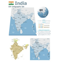 India maps with markers vector image vector image
