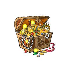 Opened treasure chest full of golden coins vector