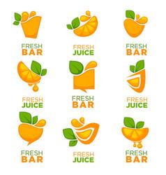 orange fresh juice collection of logo symbols vector image vector image