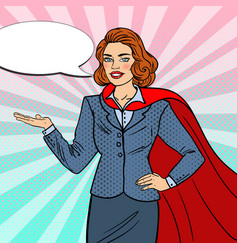 pop art super businesswoman in red cape vector image