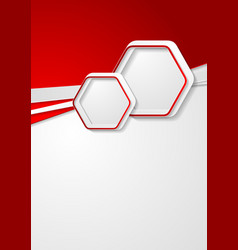 red and grey flyer design with hexagons vector image vector image