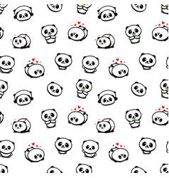 seamless pattern with cute panda asian bear vector image vector image