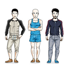 Confident handsome men standing wearing stylish vector
