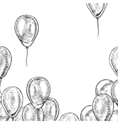 Hand drawn frame of balloons vector image vector image