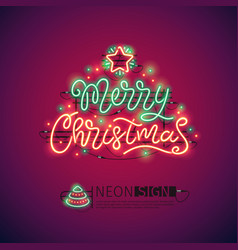 Merry christmas colorful neon sign vector