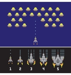 Pixel art style space war and spaceship game vector image vector image