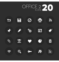 Thin office 2 icons on dark gray vector image vector image