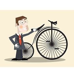 Business Man and Vintage Bike vector image vector image