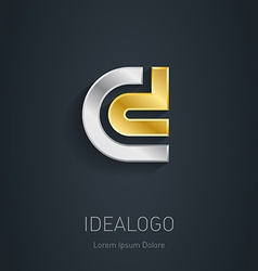 C and d initial silver and gold logo metallic 3d vector