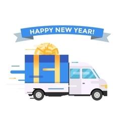 Delivery transport truck van Christmas gift vector image vector image