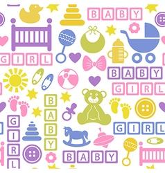 seamless pattern with icons for baby girl vector image