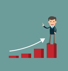 businessman success standing on graph looking vector image