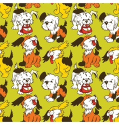 cartoon puppies seamless pattern vector image