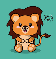 color background with cute kawaii animal lion with vector image vector image