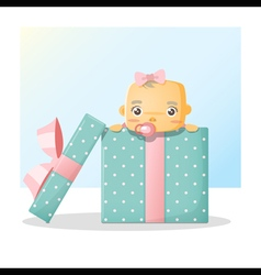 Cute baby inside gift box background 2 vector image vector image