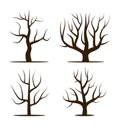 four trees without leaves vector image