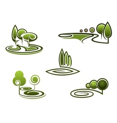 Green trees elements for landscape design vector image vector image
