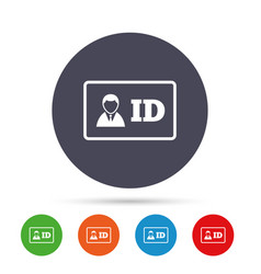 id card sign icon identity card badge symbol vector image