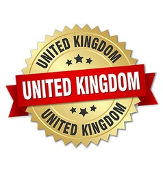 United Kingdom round golden badge with red ribbon vector image vector image