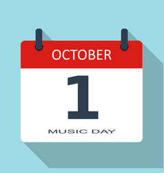1 october music day flat daily calendar i vector image