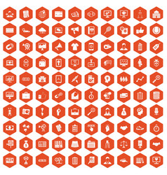 100 partnership icons hexagon orange vector