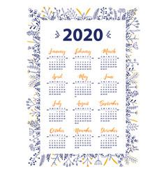 2020 calendar with floral design vector