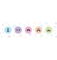 5 joystick icons vector
