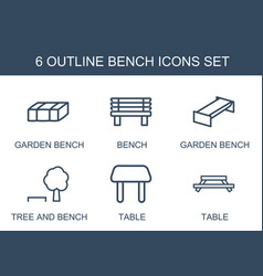 6 bench icons vector