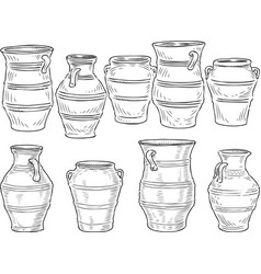 a set of the various greek clay pots vector image
