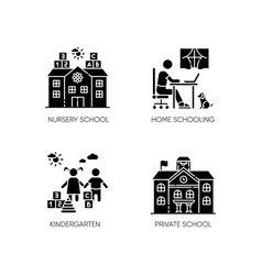 Academic studying black glyph icons set on white vector