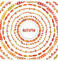 Autumn background circle hand drawn frame vector