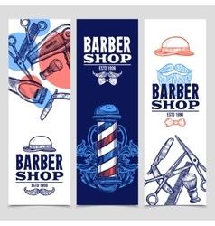 Barber Shop 3 Vertical Banners Set vector
