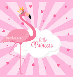 Beautiful little princess pink flamingo in golden vector