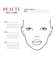Beauty face chart beautiful woman with open eyes vector