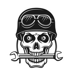 Biker skull in helmet and wrench in mouth vector