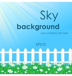 Blue sky with white fence vector image