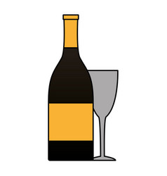 bottle champagne and cup on white background vector image