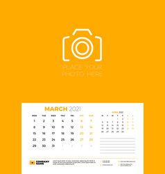 Calendar for march 2021 week starts on monday vector