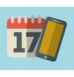 Calendar with cellphone icon image vector